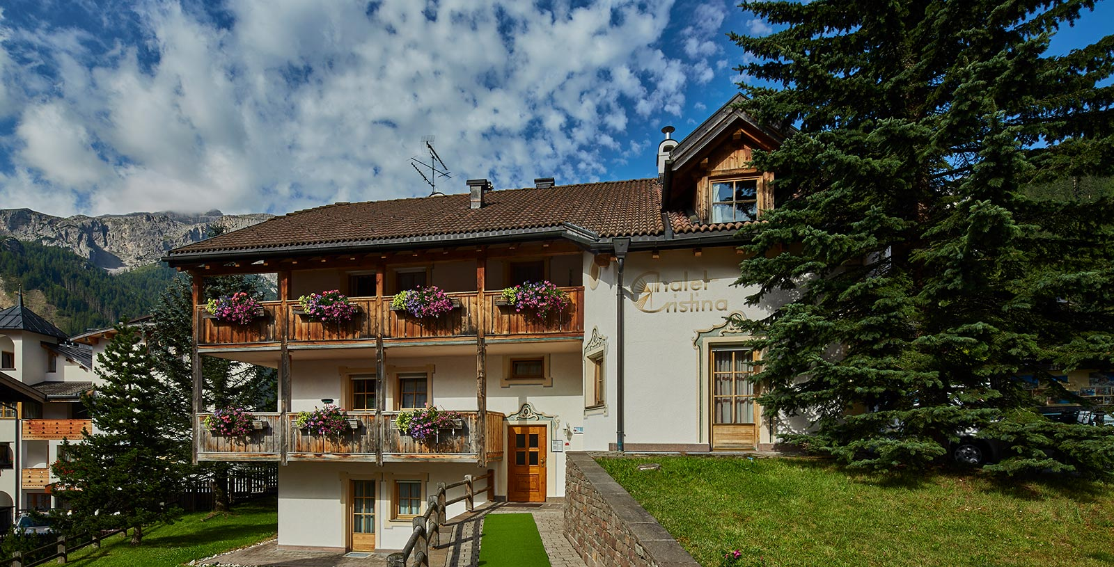 The building of the Chalet Cristina in Corvara in classic South Tyrolean style