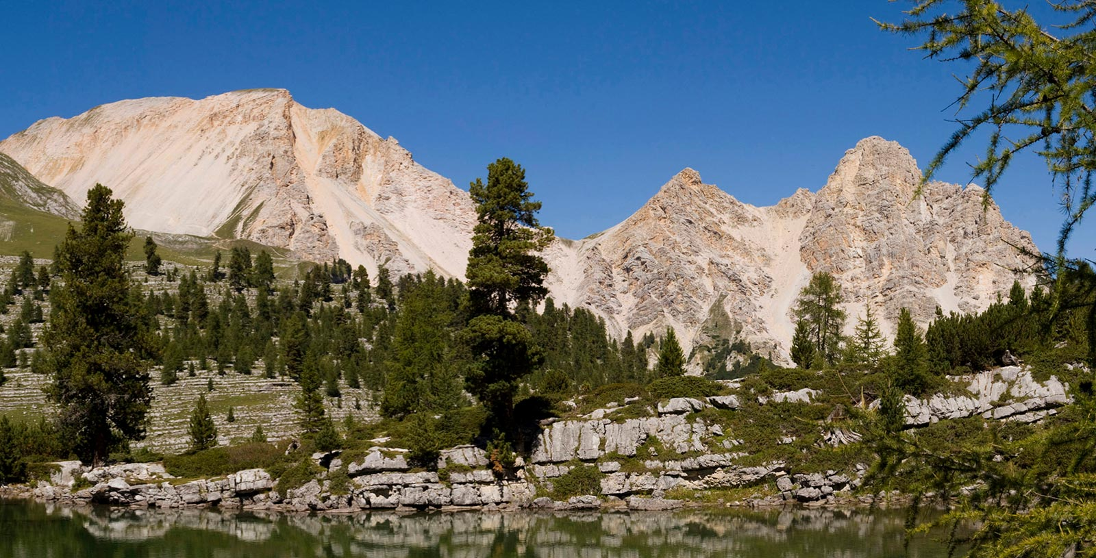 a mountain lake on the alpine pasture in Alta Badia